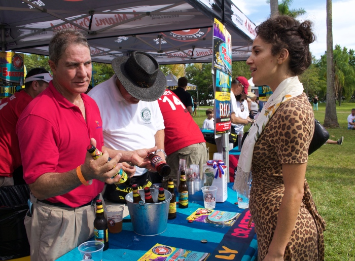Miami beauty negotiating Pilsner! The 6th Annual Great Grove Race - Miami, 2014
