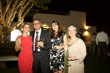 (Left to right) Your truly, Lucio Matricardi (Mezzacorona/Stemmari), Megan Battista (Wagstaff Worldwide) and Amanda Hathaway (Wagstaff Worldwide) - Mezzacorona & Stemmari Wines' Holiday 2014 Wine Tasting at Rooftops on Ponce