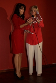 Director Betty Lara honoring Connie Sepulveda Rumbaut for her efforts coordinating the event - Glory House of Miami Fundraiser @ La Bodeguita, Coral Gables