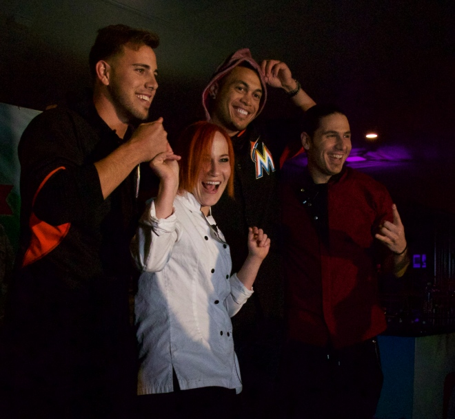Everybody's a winner! (L to R): Miami Marlins pitcher José Fernandez, celebrity Chef Adrianne Calvo, Miami Marlins outfielder Giancarlo Stanton, and rock star Chef James Tahhan @ Taste of Miami 2015